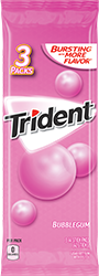 Trident Bubblegum Sugar Free Gum 3-Packs